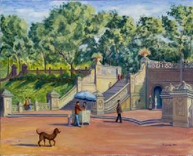 Central Park:  Bethesda Terrace With Dog